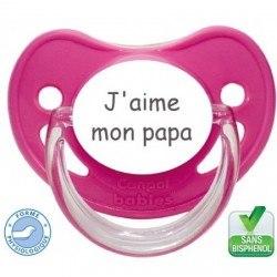 """Sucette pré-imprimée """"J'aime mon papa"""""""