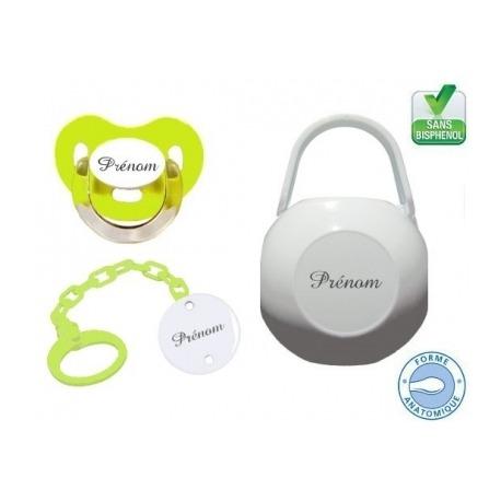 Kit tétine bébé, attache et boite personnalisé charme vert