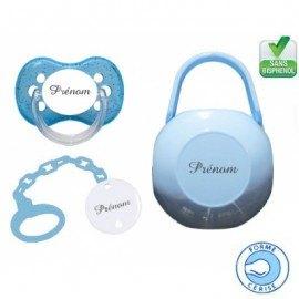 Kit tétine bébé, attache et boite personnalisé cerise bleu