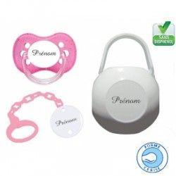 Kit tétine bébé, attache et boite personnalisé cerise rose