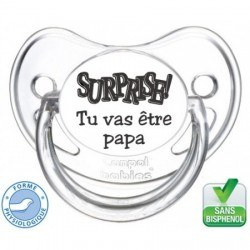 """Tétine bébé """"Surprise tu va être papa """""""