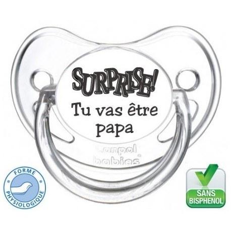 """Tétine pré-imprimée """"Surprise tu va être papa """""""