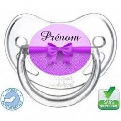 Tétine bébé nœud papillon violet
