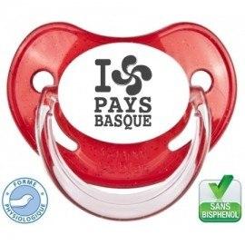 """Sucette pré-imprimée """"I love pays basque"""""""