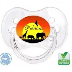 Sucette bébé avec logo savane et le prénom