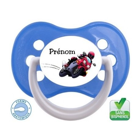 Tétine bébé avec une moto est prénom
