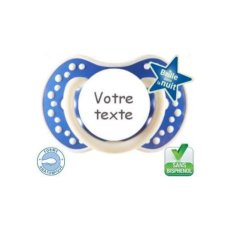 Sucette personnalisée night and day bleu marine fluorescente