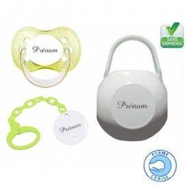 Kit tétine bébé, attache et boite personnalisé cerise verte
