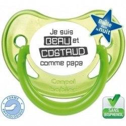 """Tétine bébé """"beau et costaud comme papa """""""