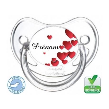 Sucette personnalisée avec plusieurs cœurs rouge