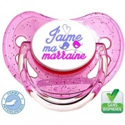 Tétine bébé j'aime ma marraine version fille