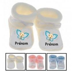 Chaussons bébé personnalisés papillon bleu prénom