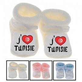 Chaussons bébé J'aime la Tunisie
