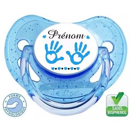 Tétine personnalisée main de bébé garçon et prénom