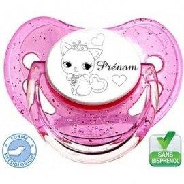 Tétine personnalisée chat princesse et prénom