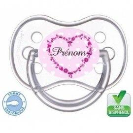 Tétine bébé personnalisée princesse coeur