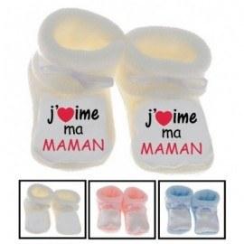 Chaussons bébé J'aime ma maman