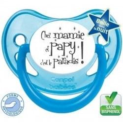 """Tétine personnalisée """"Chez mamie et papy c'est le paradis"""""""