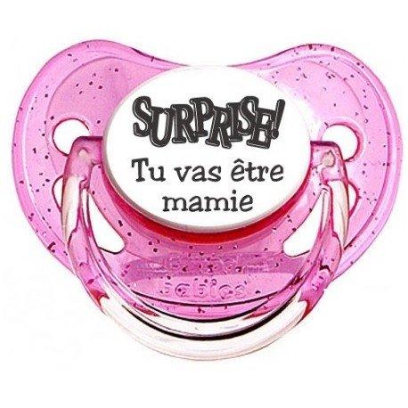 """Tétine personnalisée """"Surprise Tu vas être mamie """""""