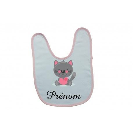 Bavoir personnalisé chat prénom