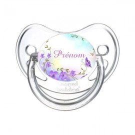 Tétine personnalisée fleurs violette papillons et prénom