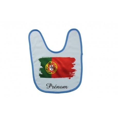 Bavoir personnalisé drapeau du Portugal et prénom