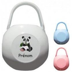 Boite à tétine personnalisée avec un panda et prénom