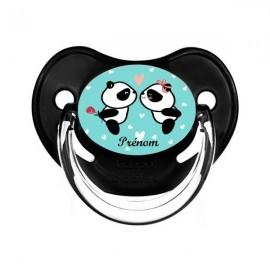 Tétine personnalisée avec des pandas amoureux