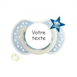 Tétine personnalisée night and day bleu pastel fluorescente