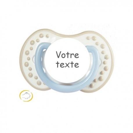 Tétine personnalisée night and day beige bleu