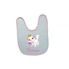 Bavoir bébé personnalisé avec un chat et prénom