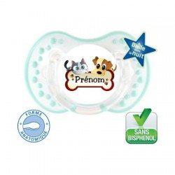 Sucette bébé un logo chien chat et le prénom